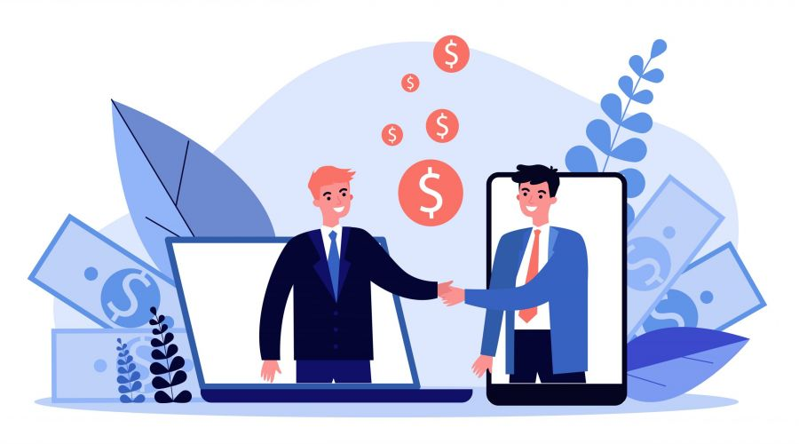 Partners shaking hands flat vector illustration. Businessman and sponsor beginning startup. Partnership, teamwork and relationship concept.